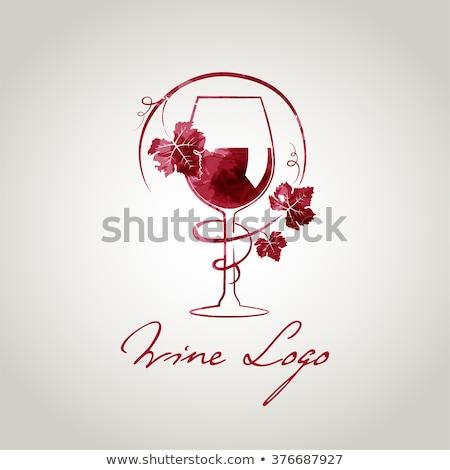 Banner rode wijn fles glas druiven houten Stockfoto © Illia