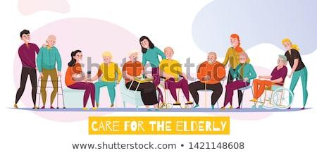 Handicapés fauteuil roulant supérieurs vecteur vieillard Photo stock © robuart