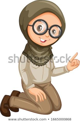 ムスリム 少女 スカウト ユニフォーム 座って 白 ストックフォト © bluering