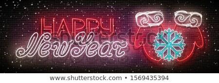 Izzik üdvözlőlap fagy hópehely felirat boldog új évet Stock fotó © lissantee