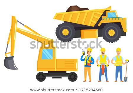 Men Work in Mining Industry, Lorry and Bulldozer Stock photo © robuart