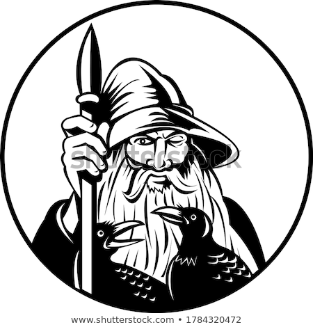 Odin Norse God of War and of the Dead and Ravens Circle Retro Black and White Stock photo © patrimonio
