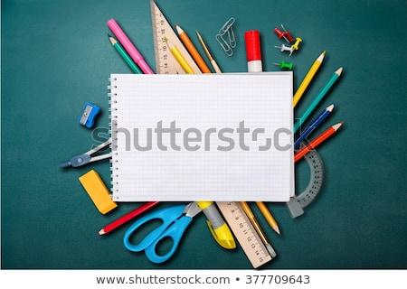 atrás · escuela · fondo · lápiz · azul · estrellas - foto stock © milsiart