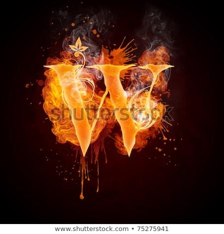 ateşli · w · harfi · mavi · örnek · siyah - stok fotoğraf © rastudio