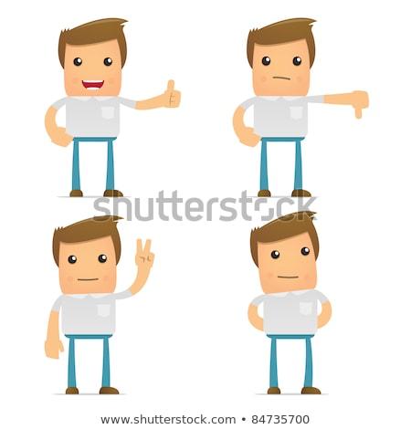 Foto stock: Set Of Funny Cartoon Casual Man