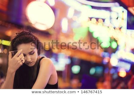 bêbado · mulher · cidade · mulher · jovem · vinho - foto stock © smithore
