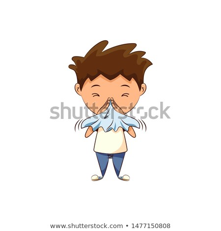 sick boy blowing his nose, white background   Stock photo © dacasdo