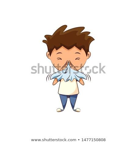 doente · menino · assoar · o · nariz · branco · médico · medicina - foto stock © dacasdo
