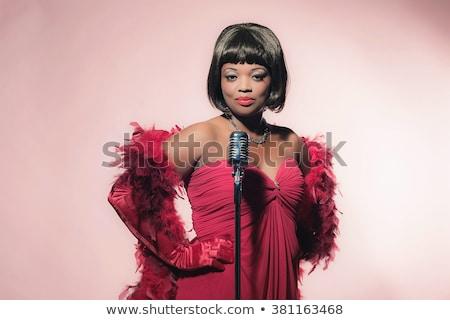 Mooie afro-amerikaanse zanger meisje microfoon Stockfoto © darrinhenry