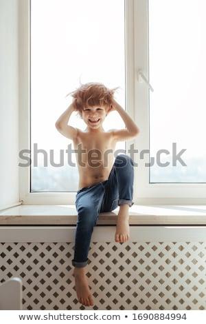 gülme · üstsüz · çift · ayakta · eller · memeler - stok fotoğraf © stryjek
