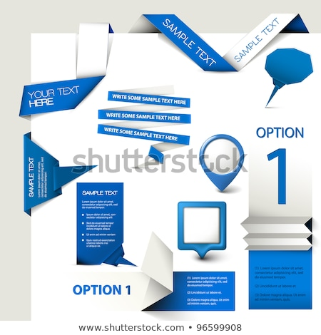Set of Blue Vector Sample option paper origami stock photo © orson
