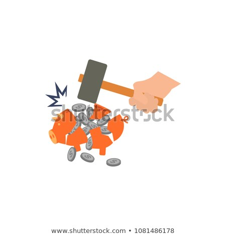 Сток-фото: Businessman Breaking A Piggy Bank With A Hammer