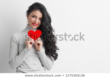 Beautiful woman holding hearts Stock photo © Anna_Om