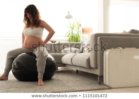 Kadın oturma egzersiz top kız sağlık Stok fotoğraf © photography33