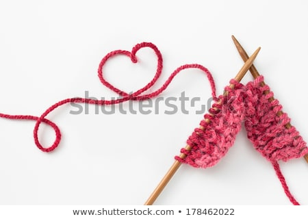 Yarn needles pattern and knitting on white Stock photo © tish1