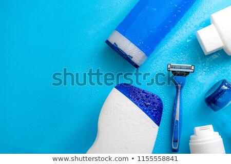 Kék eldobható fehér tükröződés férfi fürdőkád Stock fotó © ruigsantos