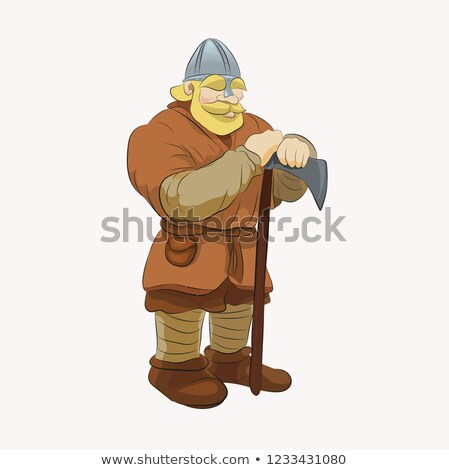 Cartoon Viking with huge axe. Stock photo © antonbrand