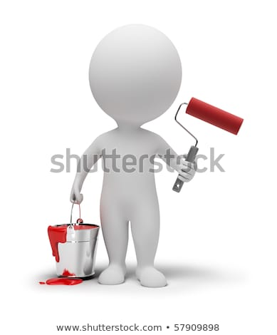 Stock photo: 3d small people with paint roller