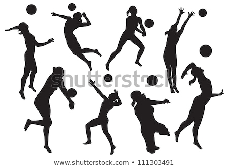 Stok fotoğraf: Volleyball Silhouettes Set