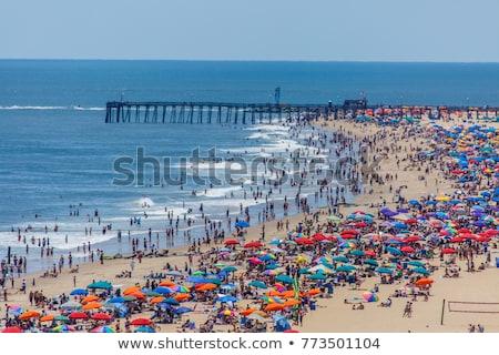 переполненный · пляж · небе · солнце · синий · песок - Сток-фото © Armisael