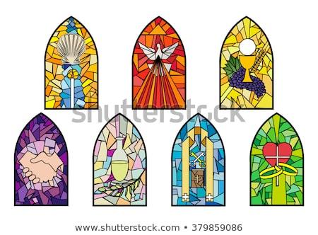 Religiösen Glasmalerei Fenster innerhalb Kirche Ostern Stock foto © sbonk
