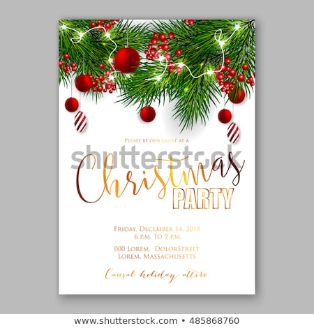 Winter Party Invitation on Red Sparkly Snow Background Stock photo © scheriton