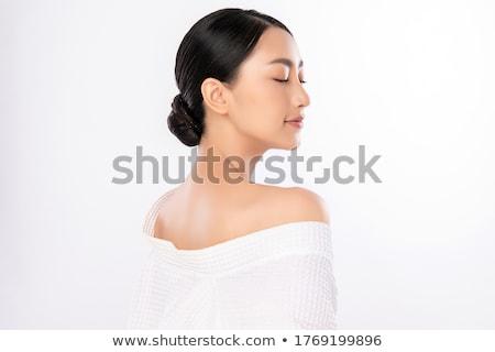 vista · lateral · bela · mulher · belo · morena · mulher · branco - foto stock © Rob_Stark