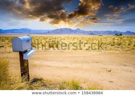 Désert paysage flèche boîte aux lettres lettres courriel Photo stock © HectorSnchz