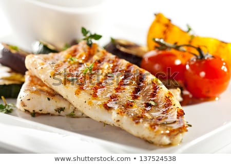 meat and fish on plate Stock photo © shutswis