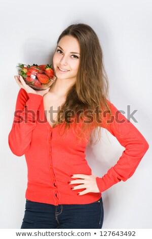 genç · kadın · çilek · dostça · genç · esmer - stok fotoğraf © lithian
