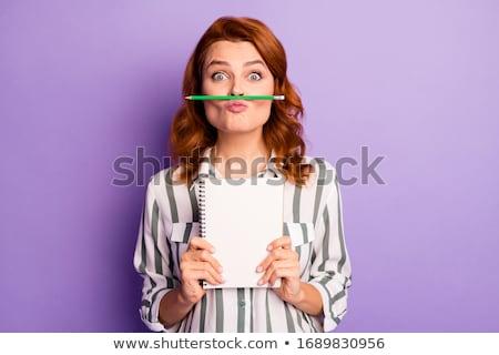 portré · vicces · nő · portré · mosolyog · nő · mosoly - stock fotó © dashapetrenko