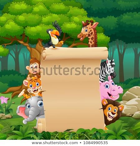 Wild animal with blank sign Stock photo © dagadu