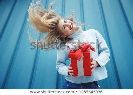 блондинка фото камеры изолированный Сток-фото © acidgrey