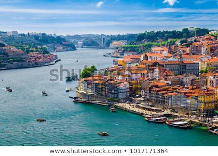 stad · Portugal · schemering · water · gebouwen · nacht - stockfoto © zittto