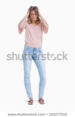 csalódott · nő · áll · felfelé · fej · kezek - stock fotó © wavebreak_media