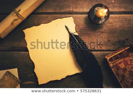 kalem · mum · antika · pirinç · şamdan · kırmızı - stok fotoğraf © rogerashford