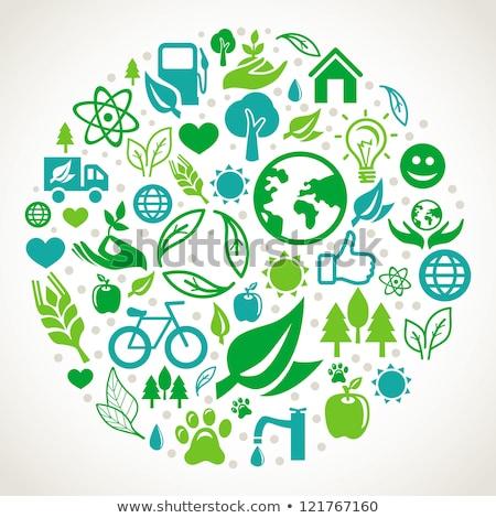 Stockfoto: Ecologie · eco · iconen · vector · business · auto