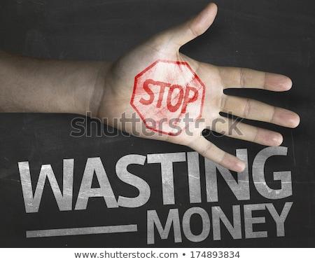 Stockfoto: Stoppen · geld · kleurrijk · woorden · Blackboard · financieren