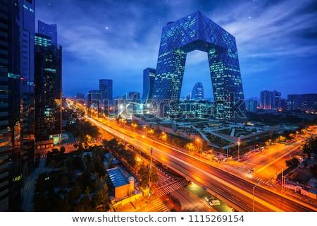 Peking sziluett iroda város terv híd Stock fotó © compuinfoto