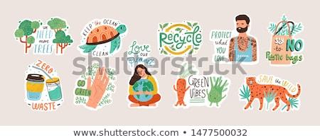 Stockfoto: Groene · aarde · stickers · vers · vlinder · borden