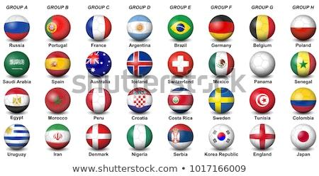 Foto stock: Balón · de · fútbol · banderas · países · trabajo · camino · fútbol