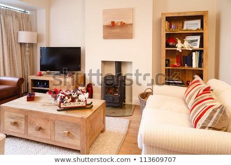 гостиной · красный · кирпичных · камин · просторный - Сток-фото © podsolnukh