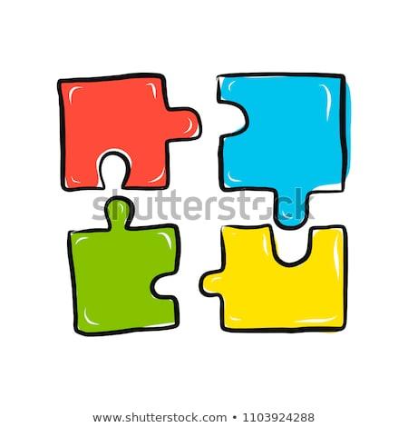 Pr puzzel hand zwarte fiche Stockfoto © ivelin