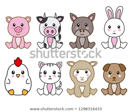 Animaux de la ferme kawaii cute chien chat Photo stock © Ansy