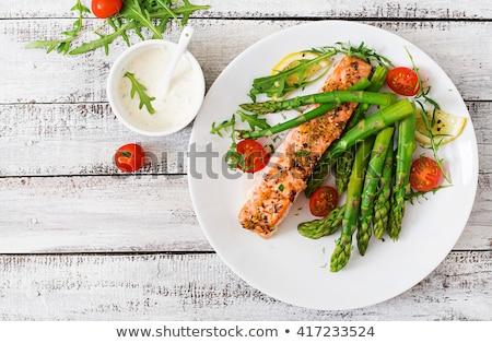 фаршированный · лосося · спаржа · сторона · рыбы · обеда - Сток-фото © m-studio