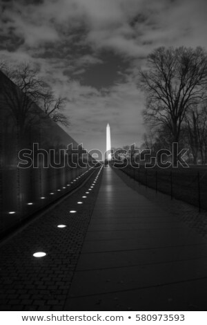 Washington Monument Vietnam Memorial Black Wall, Night Washingto Stock photo © billperry