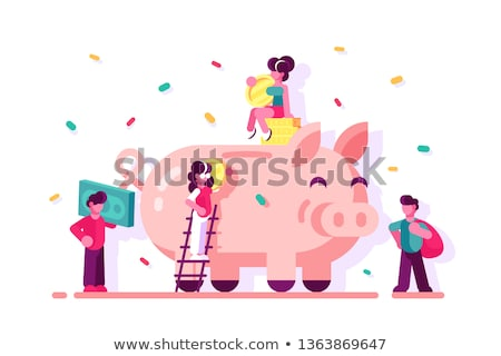 Piggy bank with a banknote in the slot Stock photo © stryjek