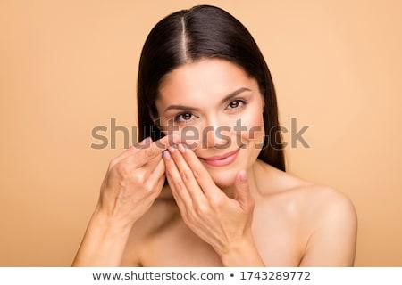 улыбающаяся · женщина · контактная · линза · изолированный · белый · глаза · лице - Сток-фото © stryjek