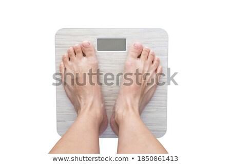 mulher · banheiro · balança · feliz · esportes - foto stock © stryjek