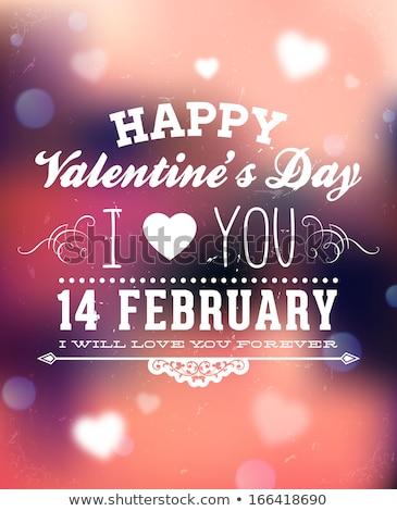 i love you calligraphic headline and happy valentines day color stock photo © bharat